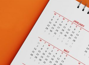Calendar on orange background