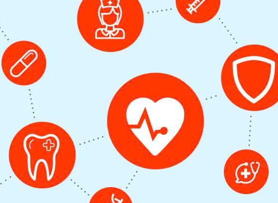 Orange icons of various healthcare benefits