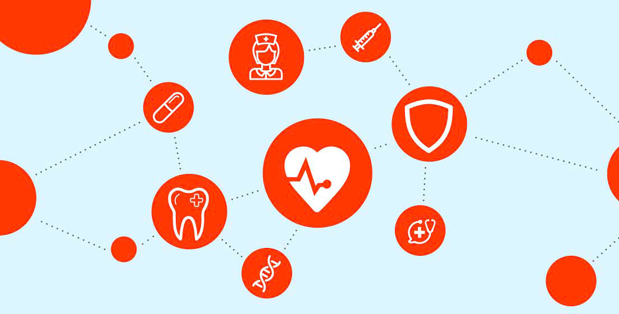 orange icons of various healthcare benefits