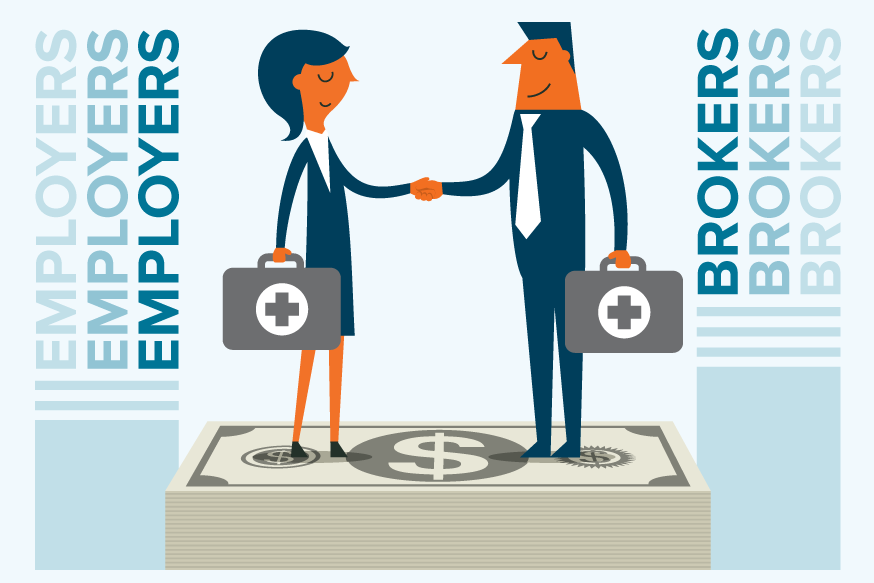 An employer and broker shaking hands