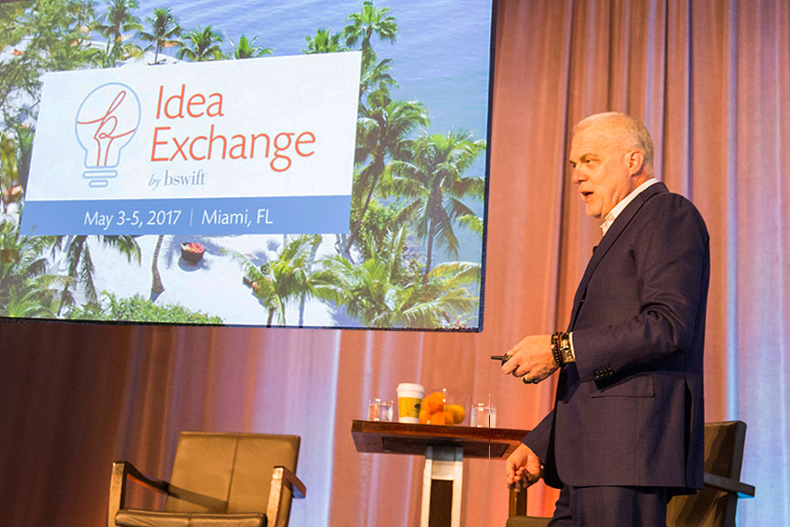 Aetna Chairman and CEO Mark T. Bertolini speaks at the Idea Exchange by bswift conference in May 2017.