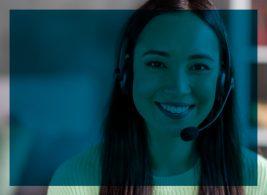 Customer service representative smiling